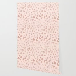 Modern rose gold glitter Christmas trees pattern on blush pink Wallpaper