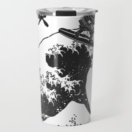 Samurai Surfing The Great Wave off Kanagawa Travel Mug