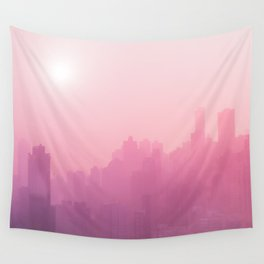 Pink City Skyline Wall Tapestry