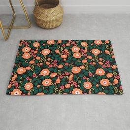 08 Floral pattern. Black background. Orange flowers. Rug