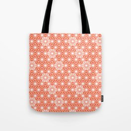 Japanese Asanoha or Star Pattern, Pastel Coral and White Tote Bag