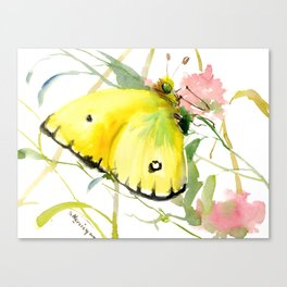 Soft Yellow Butterfly and Pink Flower, pink turquoise lemon yellow girls room art, design Canvas Print