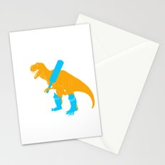TRex playing cricket sports Stationery Cards