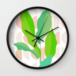 Sunny Banana leaves on Mid Century Modern pattern Wall Clock