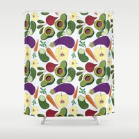 vegetables Shower Curtains featuring vegetables by Aina Bestard