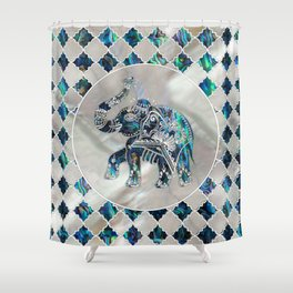 Silver Framed Elephant on Abalone and Pearl Shower Curtain
