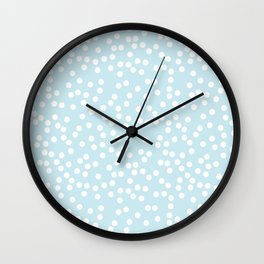 Palest Blue and White Polka Dot Pattern Wall Clock