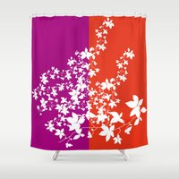climbing Shower Curtains featuring Climbing Flowers by Mari Biro