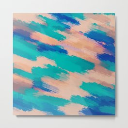 camouflage splash painting abstract in pink green and blue Metal Print