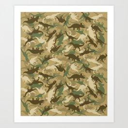 Camouflage Dinosaur Print Olive Green Khaki Tan Art Print