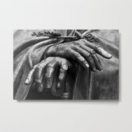 Hands of Wisdom - Black & White Metal Print
