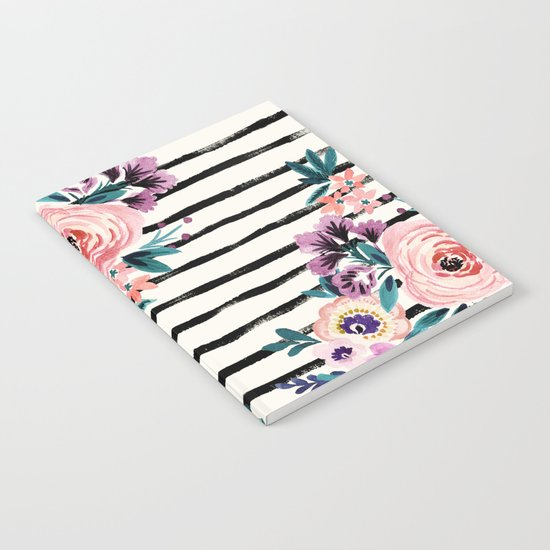 Victoria Floral Stripe Notebook