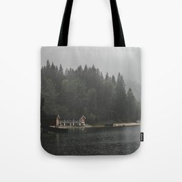 Foggy mornings at the lake II - landscape photography Tote Bag