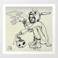 onesie Art Prints featuring Torn Onesie by Steve Mont