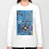 computer Long Sleeve T-shirts featuring Computer Motherboard by Nick's Emporium Gallery