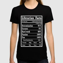 Librarian Facts Funny design T-shirt