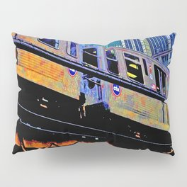 Chicago 'L' in multi color: Chicago photography - Chicago Elevated train Pillow Sham