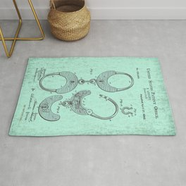 US Patent Office Submission for Handcuffs - Circa 1880 Rug