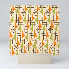 Retro Mid Century Modern Atomic Wing Pattern 426 Brown Orange and Olive Green Mini Art Print