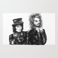 goth Area & Throw Rugs featuring Goth Detectives by Grace Mutton