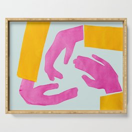 Colorful Hands reaching Serving Tray