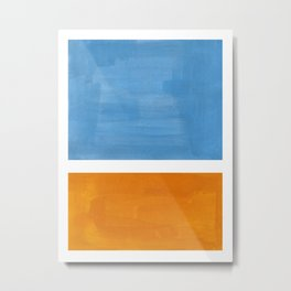 Rothko Minimalist Abstract Mid Century Color Black Square Periwinkle Yellow Ochre Metal Print