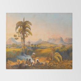 Roraima Mountain Illustrations Of Guyana South America Natural Scenes Hand Drawn Throw Blanket