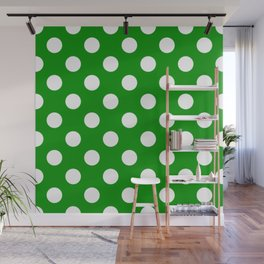 Islamic green - green - White Polka Dots - Pois Pattern Wall Mural