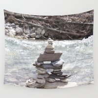 allyson johnson Wall Tapestries featuring Johnson Canyon Inukshuk by RMK Creative