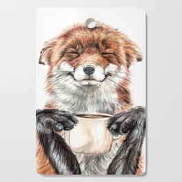 """ Morning fox "" Red fox with her morning coffee Cutting Board"