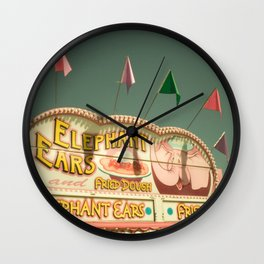 Elephant Ears Funnel Cakes Carnival Fair Whimsical Foodie Pastel Home Decor Art Wall Clock