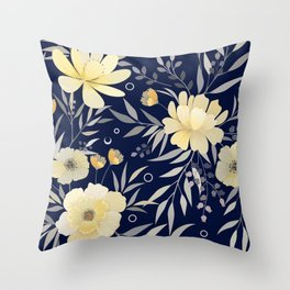 Modern, Boho, Floral Prints, Blue and Yellow Throw Pillow