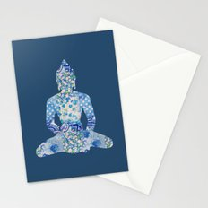 Buddha Vintage Floral Pattern Blue Navy Teal Turquoise Stationery Cards
