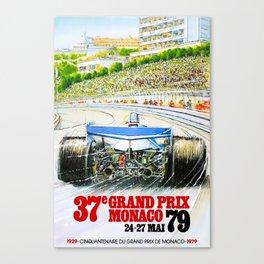 1979 Monaco Grand Prix Race Poster Canvas Print