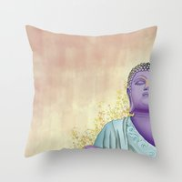 buddhism Throw Pillows featuring Buddhism by Handsomecracker