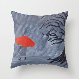 Orange Umbrella Throw Pillow