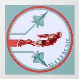 iron man and F22 raptor  Canvas Print