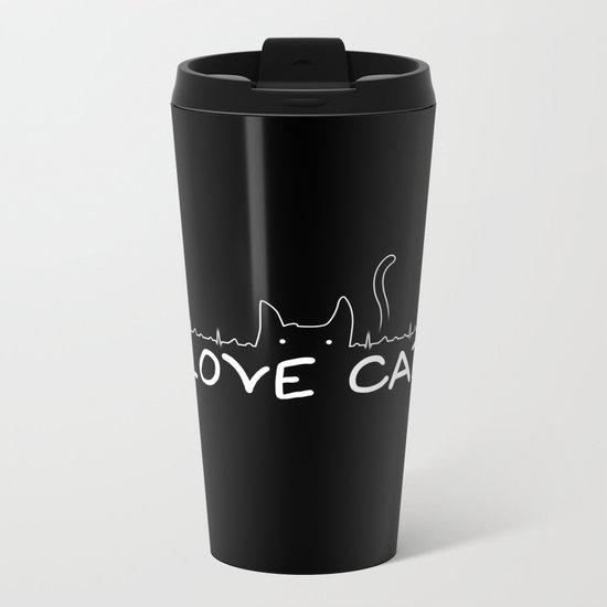 I Love Cats Metal Travel Mug