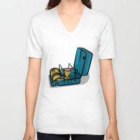 swedish V-neck T-shirts featuring Retro Swedish Camp Stove by mailboxdisco