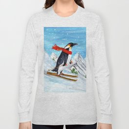 Penguin Alpine Skiing Long Sleeve T-shirt