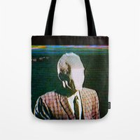 returns Tote Bags featuring Slenderdad Returns by Art of the Glitch