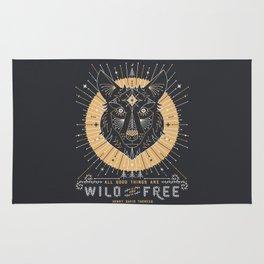 Wild & Free Wolf – Gold & Grey Rug