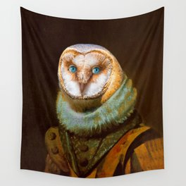 Animals - Funny Owl Painting Wall Tapestry