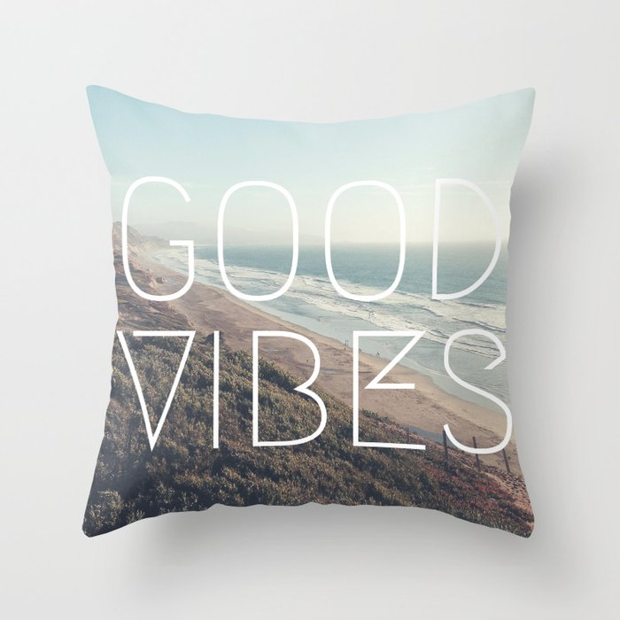 good vibes cool beach tumblr hipster print throw pillow by