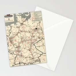 ADAC Autobahn-Karte. 1950 Vintage Map of Autobahn in Germany. Stationery Cards