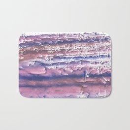 Rosy blue streaked watercolor painting Bath Mat