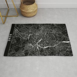 Rome Black Map Rug