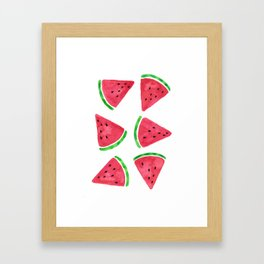 Watermelon Slices Pattern Framed Art Print