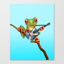 Tree Frog Playing Acoustic Guitar with Flag of Scotland Canvas Print