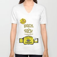 wwe V-neck T-shirts featuring Rock 'N' Sock WWE Mankind by ems23